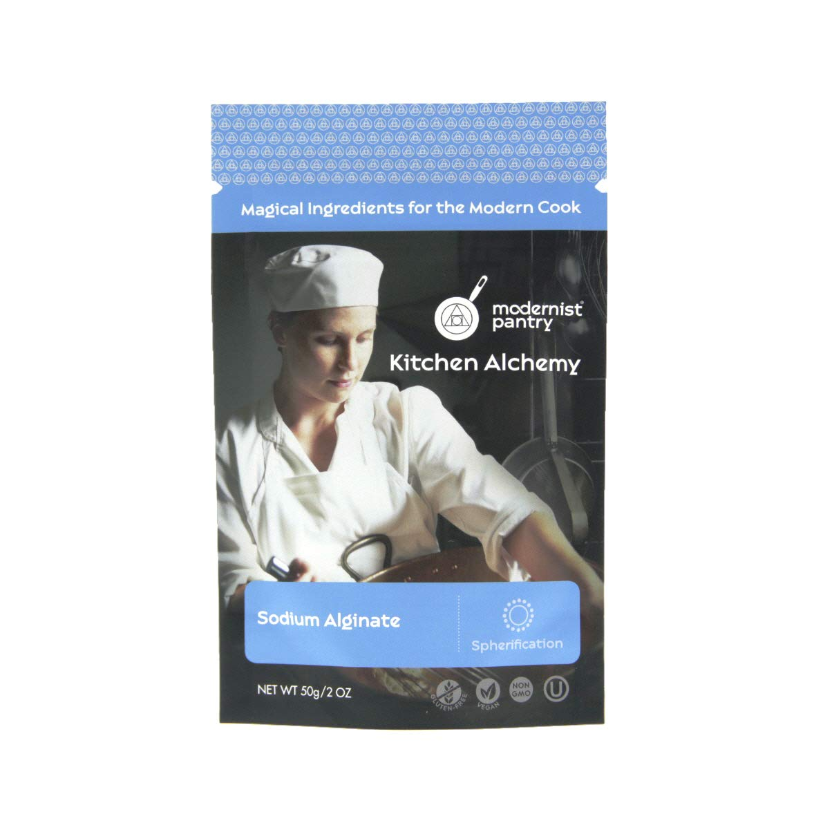 Pure Sodium Alginate (Molecular Gastronomy) ⊘ Non-GMO ☮ Vegan ✡ OU Kosher Certified - 50g/2oz