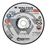 Walter Surface Technologies 11T672 Zip One High Performance Cutoff Wheel, Aluminum-Oxide, 8600 RPM, 7'' Diameter, 7/8'' Arbor, Round Hole, 3/64'' Thick, Type 27, Grit ZA-60 (Pack of 25)