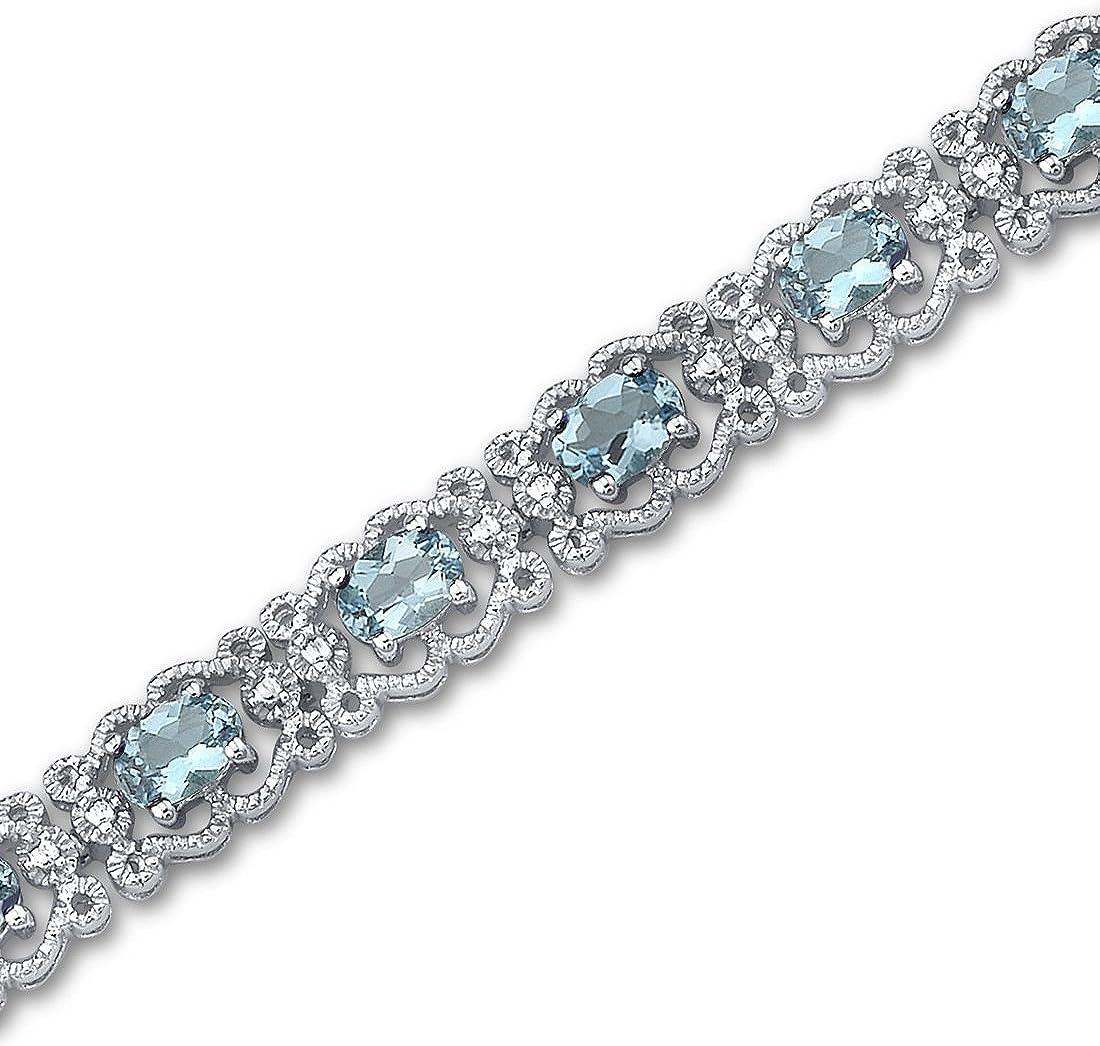 Swiss Blue Topaz Bracelet Sterling Silver 8.50 Carats Vintage Design