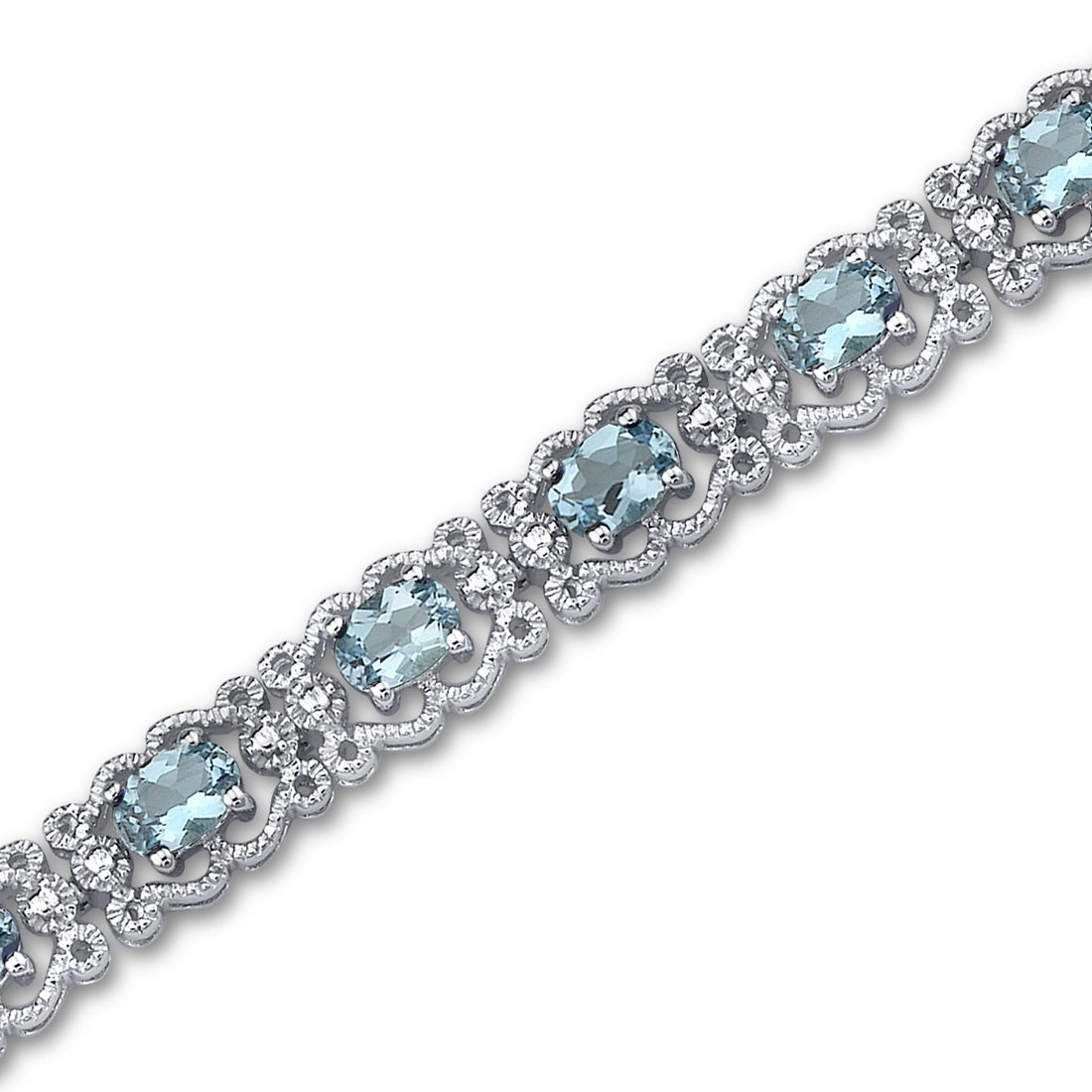 Swiss Blue Topaz Bracelet Sterling Silver 8.50 Carats Vintage Design by Peora (Image #1)