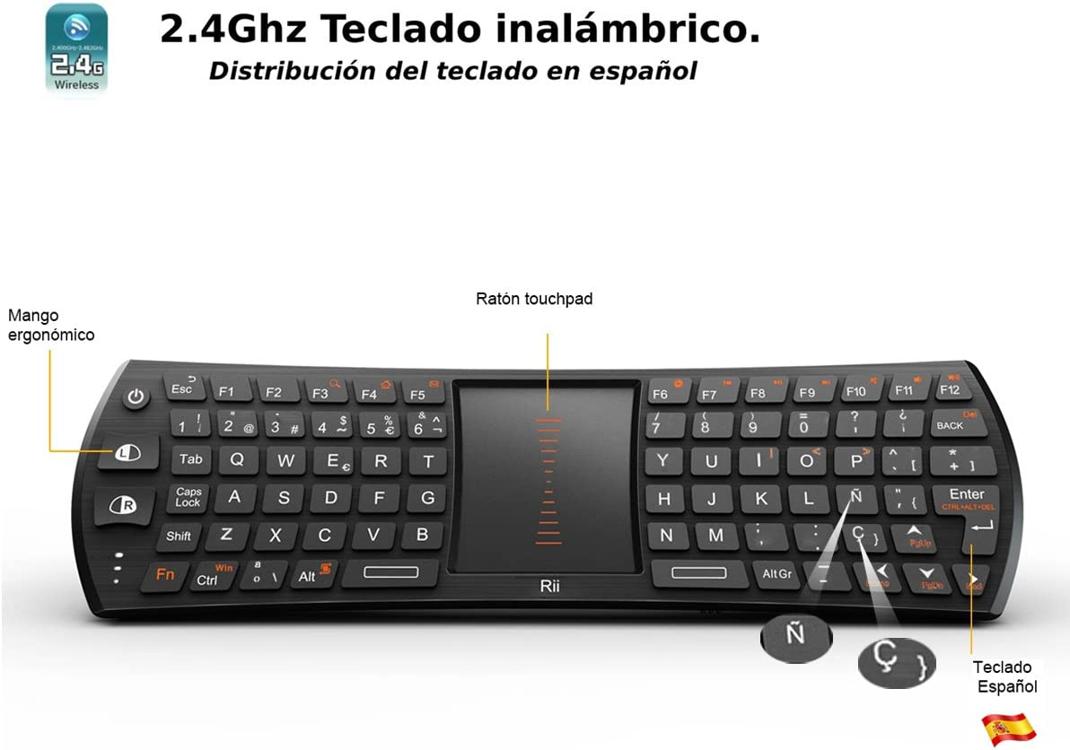 Rii Mini i24T (layout Español) Teclado inalámbrico con ratón touchpad para Smart TV, Mini PC Android, PlayStation, Xbox, HTPC, PC,Raspberry Pi A B B+ ,Kodi: Amazon.es: Electrónica