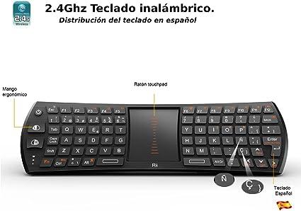Rii Mini i24T (layout Español) Teclado inalámbrico con ratón touchpad para Smart TV, Mini PC Android, PlayStation, Xbox, HTPC, PC,Raspberry Pi A B B+ ,Kodi: Amazon.es: Electrónica