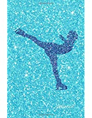 Journal: Blue Purple Figure Skater Turquoise Faux Glitter Lined Paper Dairy Notebook | Gift for Adults and Kids
