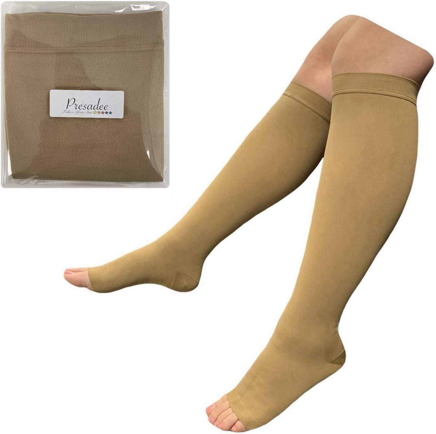 Presadee Traditional 30-40 mmHg X-Firm Compression Medical Leg Open Toe Socks Black, 4X-Large