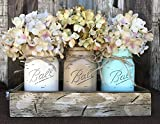 Kitchen Tables and More Mason Canning JARS in Wood Antique White Tray Centerpiece with 3 Ball Pint Jar - Kitchen Table Decor - Distressed Rustic - Flowers (Optional) - CREAM, COFFEE, SEAFOAM Painted Jars (Pictured)