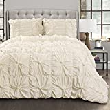 cottage chic decor Lush Decor Bella Comforter Set Shabby Chic Style Ruched 3 Piece Bedding with Pillow Shams-Full Queen-Ivory