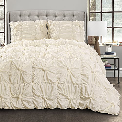 Lush Decor Bella Comforter Set Shabby Chic Style Ruched 3 Piece Bedding with Pillow Shams-Full ()