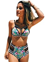 Sherry007 Women's Push Up Padding High Waisted Cut Out Printing Bikini Swimsuit