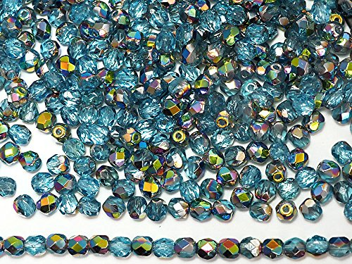 3mm, 600pcs, Aqua Vitrail coated, Czech Fire Polished Round Faceted Glass Beads
