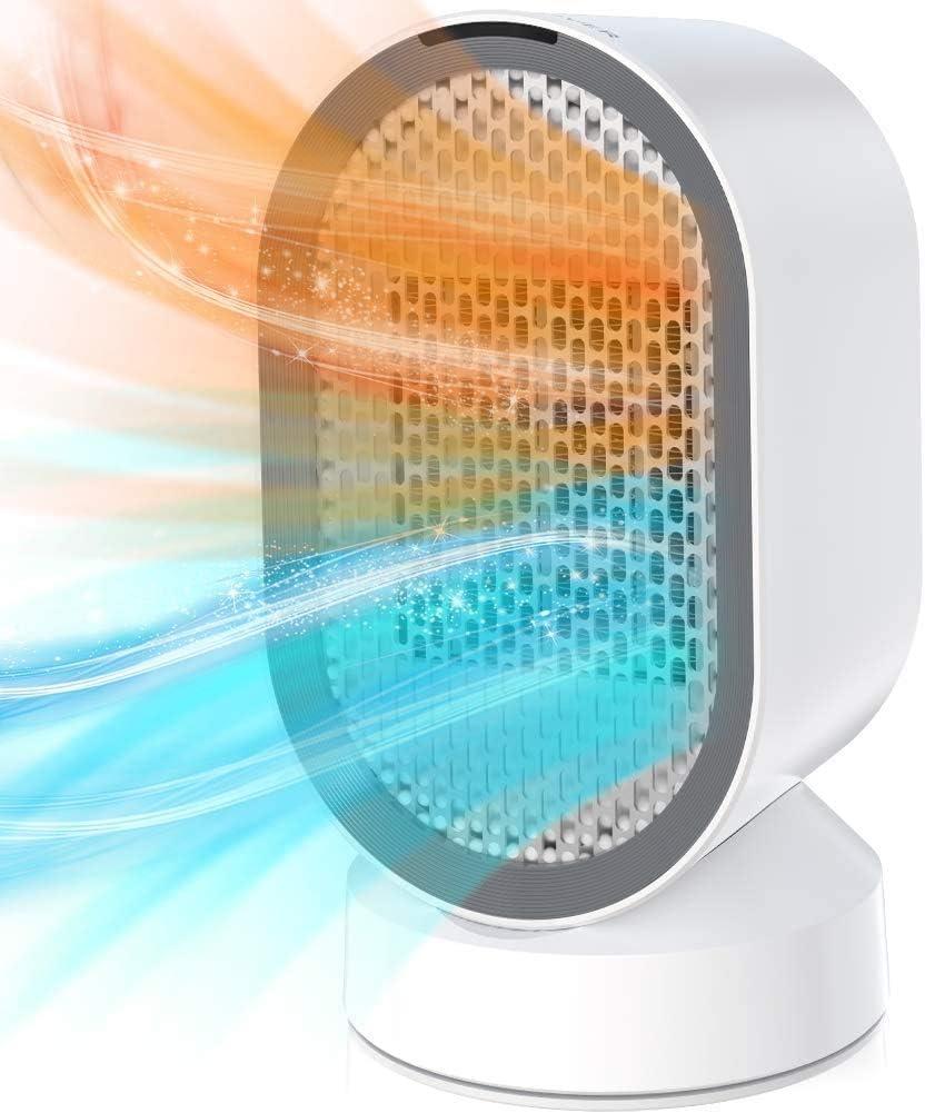 Calefactor Eléctrico Cerámica, Calefactor de Aire Portátil 600W PTC Elemento de Cerámica, Bajo Consumo,Silencioso, Calefacción 2S, 45° Oscilación con Viento Calor y Natural para Hogar y Oficina