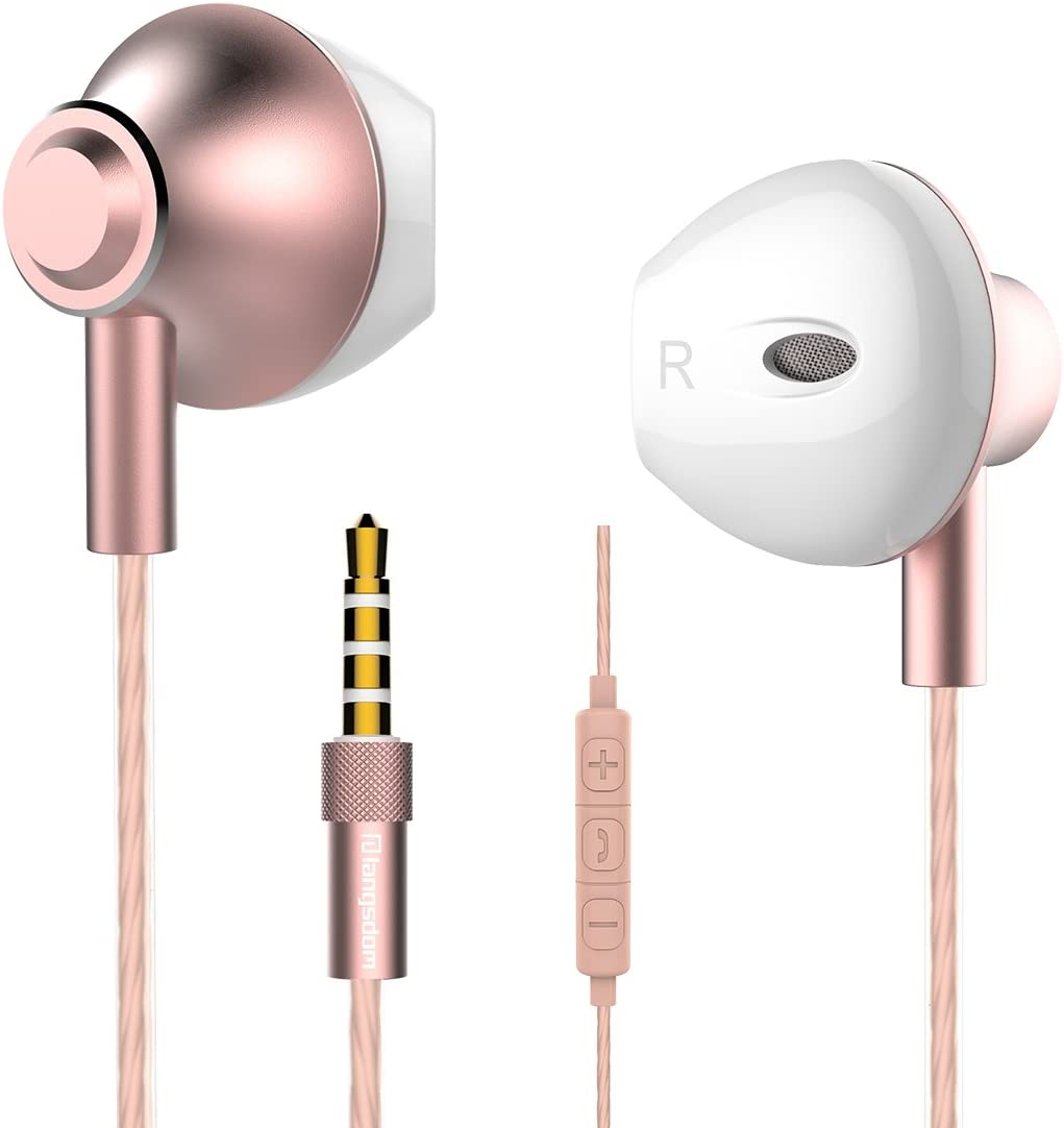 in Ear Headphones,Langsdom Earphones with Powerful Bass Compatible with Device with 3.5 mm Jack Rose Gold