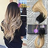 "Moresoo 20"" (Col2/27/613) Darkest Brown Fading to Bleach Blonde and Caramel Blonde Micro Rings Beads Hair Extensions Straight Hair Extensions 1g/Strand 50g/Pack"