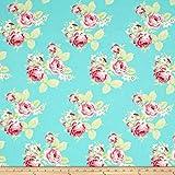 Tanya Whelan Lola Roses Blue Fabric By The Yard