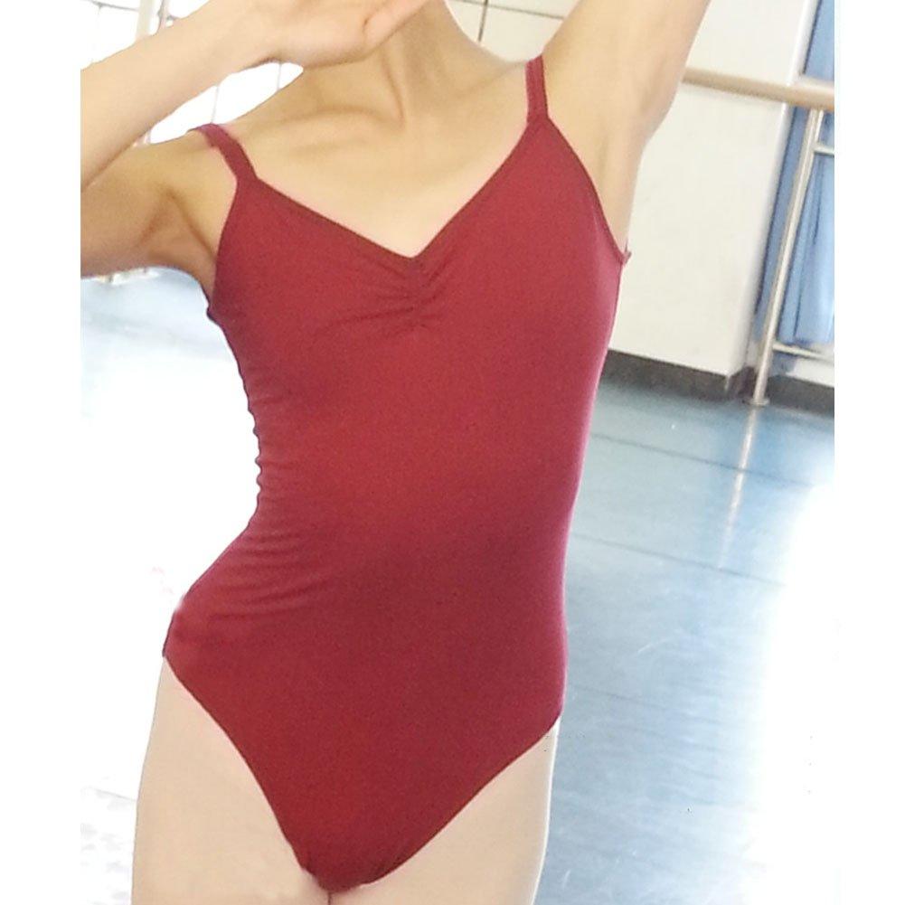 cdae98446b2e Amazon.com : [BURGUNDY] Cross Backless Plain Women Ballet/Dance/Gymnastics  Leotards, Size L : Sports & Outdoors
