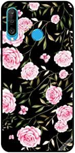 For Huawei P30 Lite Case Pink Roses in Bunchs of Small Leaves