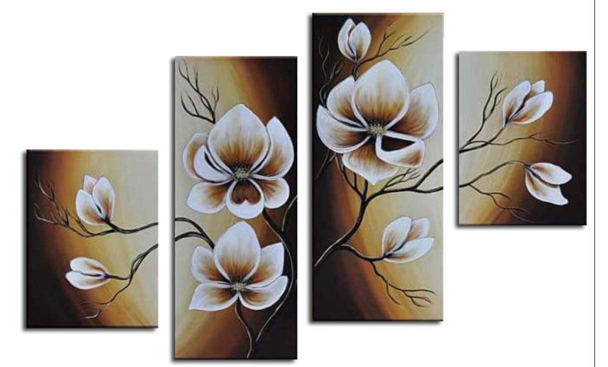 Wieco Art 100% Hand-painted Wood Framed Abstract Floral Oil Painting on Canvas Warm Day Yellow Flowers Bloom Ready to Hang for Living Room Bedroom Home Decorations 4pcs/set