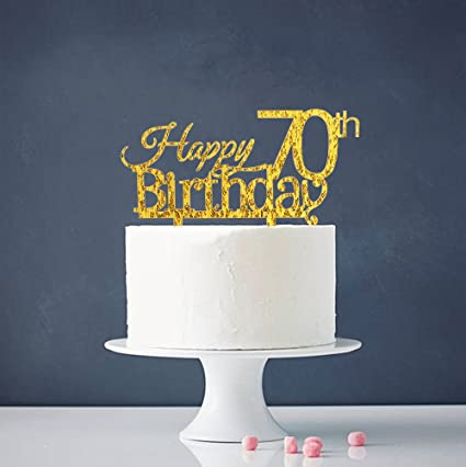 Amazoncom Happy 70th Birthday Cake Topper Gold 70th Birthday