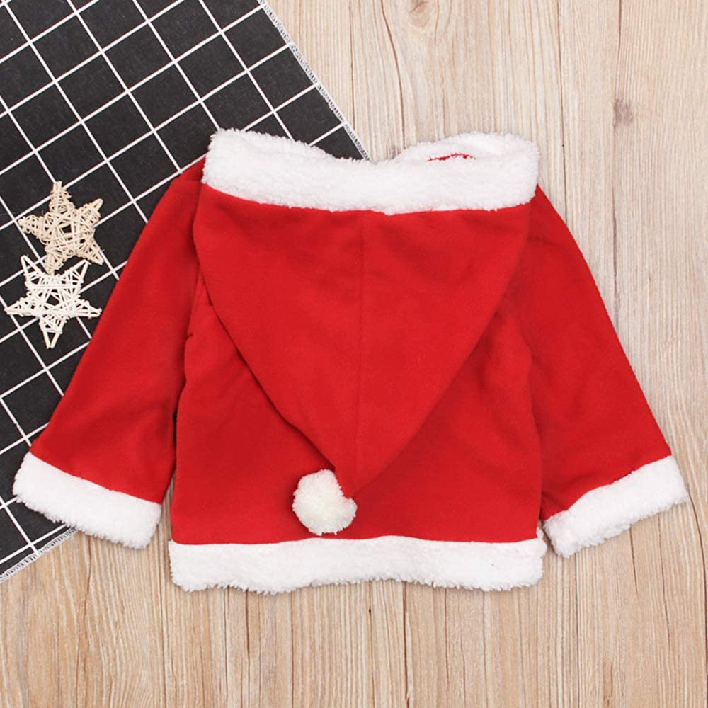 ZOELNIC Baby Girls Boys Christmas Clothes Toddler Girl Boy Fleece Hooded Tops Coat Pullover Outfits Red, 3-4Y