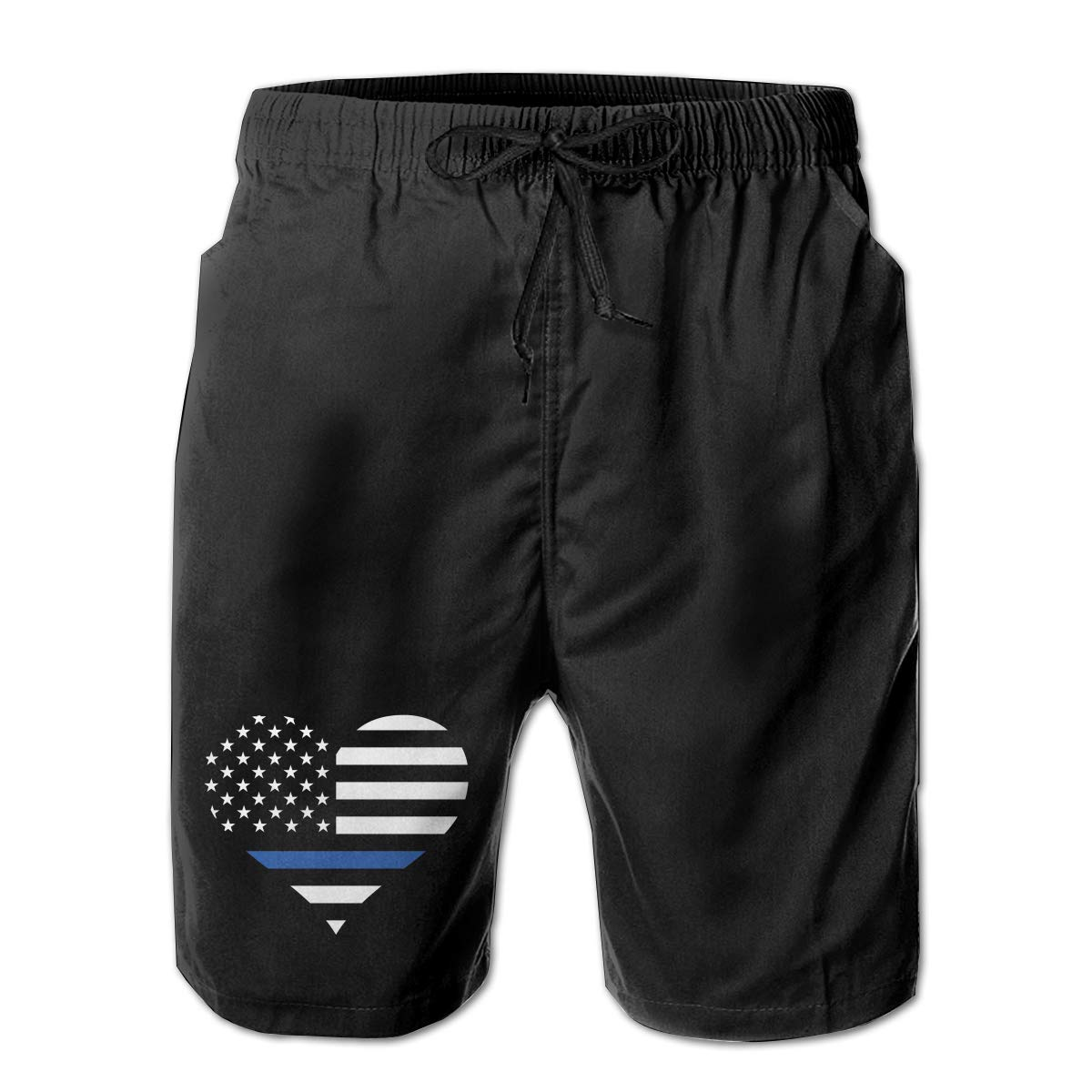 Police and Law Enforcement Thin Blue Line Heart Valentines Heart Man Summer Casual Shorts,Beach Shorts Pocket Shorts