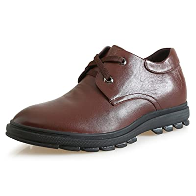 2.56 Inches Taller-Genuine Leather Height Increasing Elevator Oxfords Business Flat Shoes