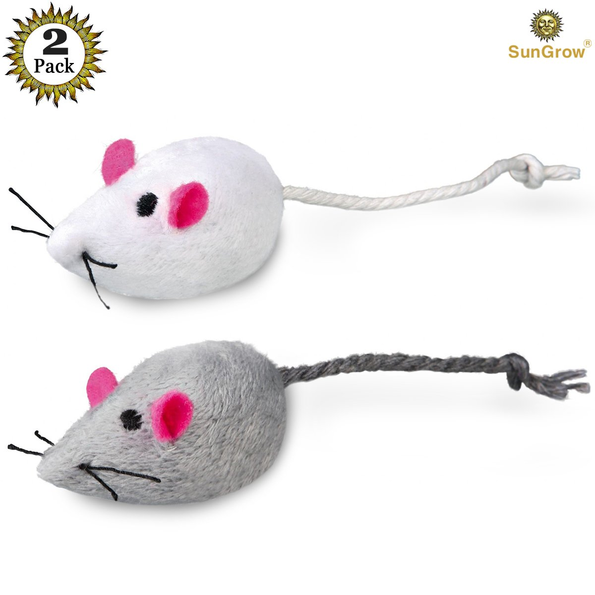 2 Mice Toys for Cats - Rattling Sound Thrills, Promotes Agility, Coordination - Boosts Natural Hunting, Pouncing Instinct - Interactive, Durable, Safe to Chew - Fun for Hours
