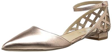 Via Spiga Valenca Damen Metallische Spitz Leder Wohnungen Schuhe Neu EU 37