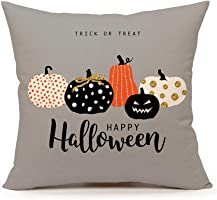"4TH Emotion Halloween Pumpkin Throw Pillow Cover Cushion Case for Sofa Couch 18"" x 18"" Inch Cotton Linen(Trick or Treat)"