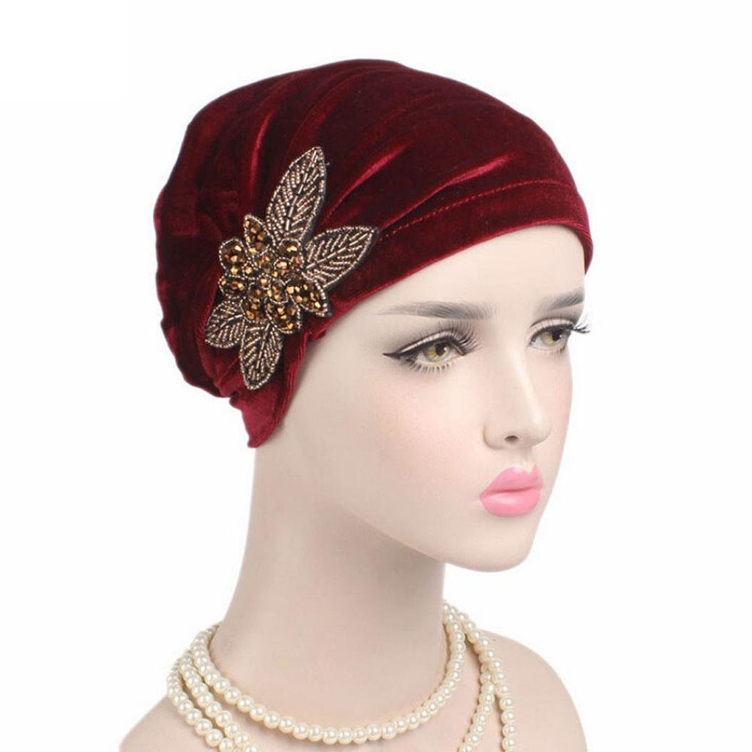 029f1b18567 Turban Head Fabal Woman Velvet Turban Headband Wraps Hijab Head Scarf  (Black) at Amazon Women s Clothing store