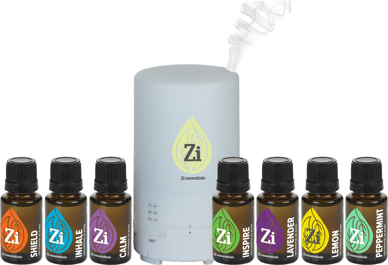 Zi Essentials Diffuser Kits - Home Aromatherapy Essential Oils Set (Diffuser + 7 Oils)