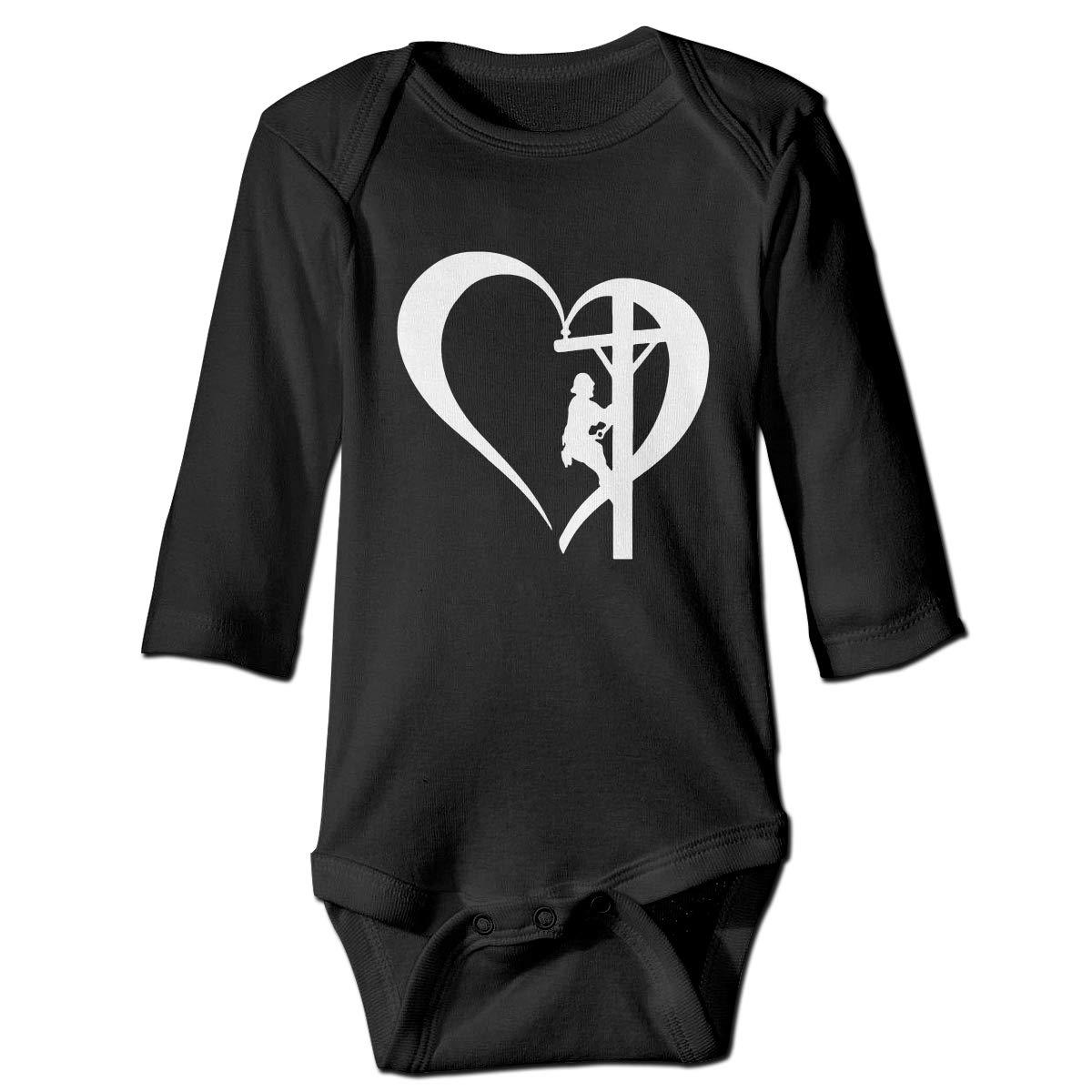Wangx-4 Infant Toddler Baby I Love My Lineman Long Sleeve Girls Romper 0-24 Months