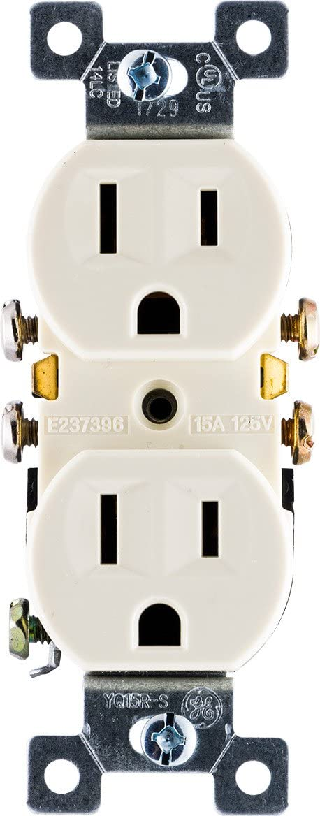 GE, Ivory, Grounding Duplex Outlet, In Wall Receptacle, 3 Prong Electrical Socket, Easy Install, 15 Amp, UL Listed, 54308, Standard - Electrical Outlets -