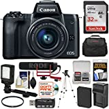 Canon EOS M50 Wi-Fi Digital ILC Camera & 15-45mm IS Lens Video Creator Kit with Rode Microphone + 32GB Card + Battery & Charger + Light + Case + Tripod Kit