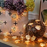 JMEXSUSS Battery Operated 16.4 Feet Metal Iron Silver Heart 30 LED Fairy String Light for Bedroom, Lawn, Landscape, Fairy Garden, Home, Holiday, Christmas Tree, Party (Warm White) (30LED, Heart)