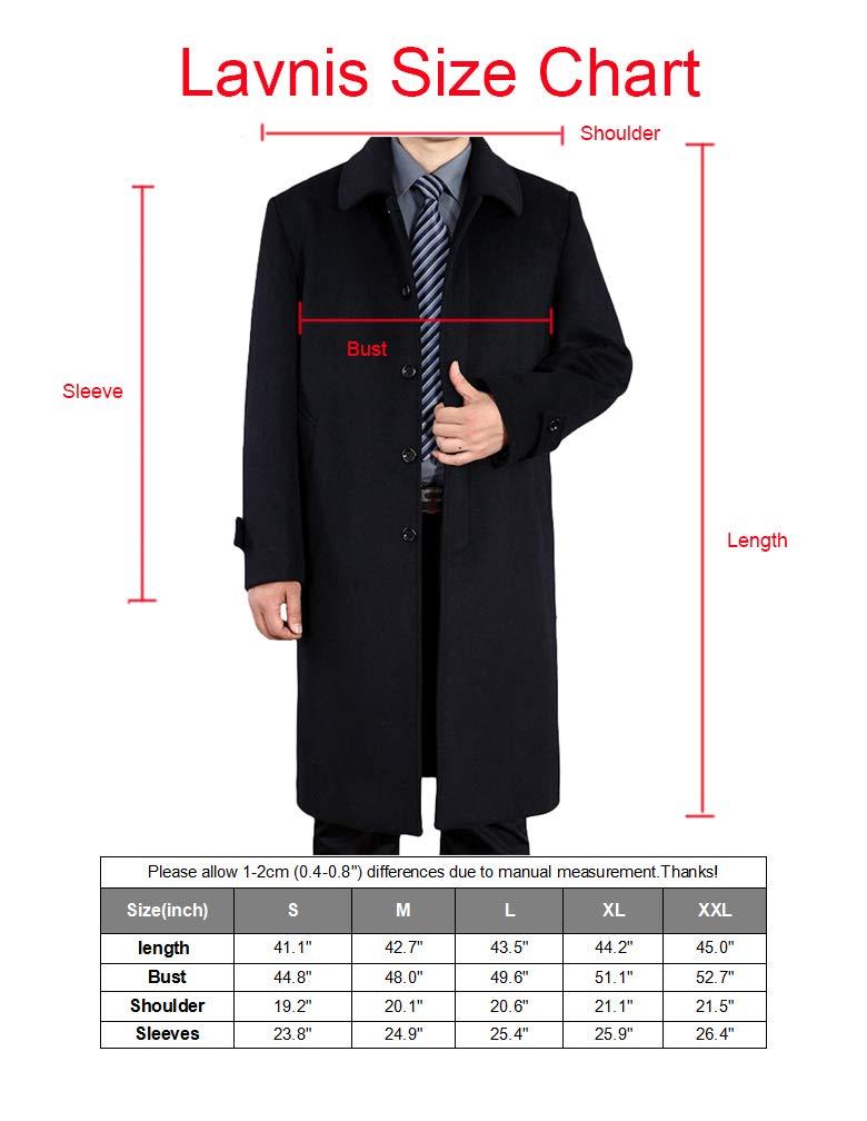 Lavnis Men's Woolen Trench Coat Long Slim Fit Business Outfit Jacket Overcoat 2XL by Lavnis (Image #5)