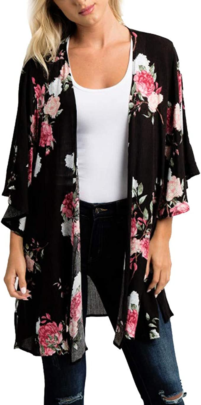 DEELIN Moda Mujer Primavera Gasa Chal Estampado Floral Kimono ...