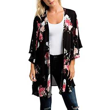 5b4806db5a0 Cardigan Blouse for Women Cover Up 3 4 Sleeve Chiffon Printed Kimono Loose  Tunic Tops. Roll over image to ...