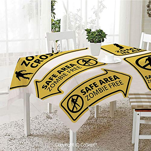 Water Resistant Tablecloth,Safe Area Zombie Free Safe Protection Zone Caution Sign Horror War Design,Washable Tablecloth Dinner Picnic Table Cloth Home Decoration(60.23