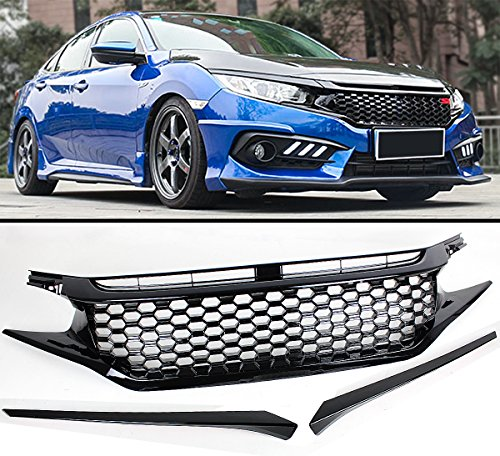 - Fits for 2016-2019 Honda Civic Glossy Black Mesh Badgeless Front Hood Grill Grille + Eye Lid