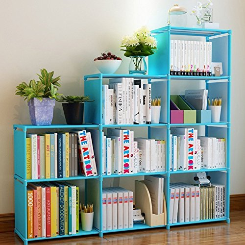 Furniture Bookcase Childrens (Adjustable Korean Style Home Furniture Book Storage Shelf Kids' 4 Tier 9 Shelves (Blue),Freestanding Sturdy Construction)