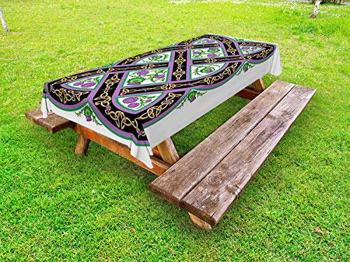 Celtic Cloths - Ambesonne Scotland Outdoor Tablecloth, Celtic Traditional Royal Pattern wih Flowers Thistle Culture Ornamental Art, Decorative Washable Picnic Table Cloth, 58 X 104 Inches, Pink Black Green