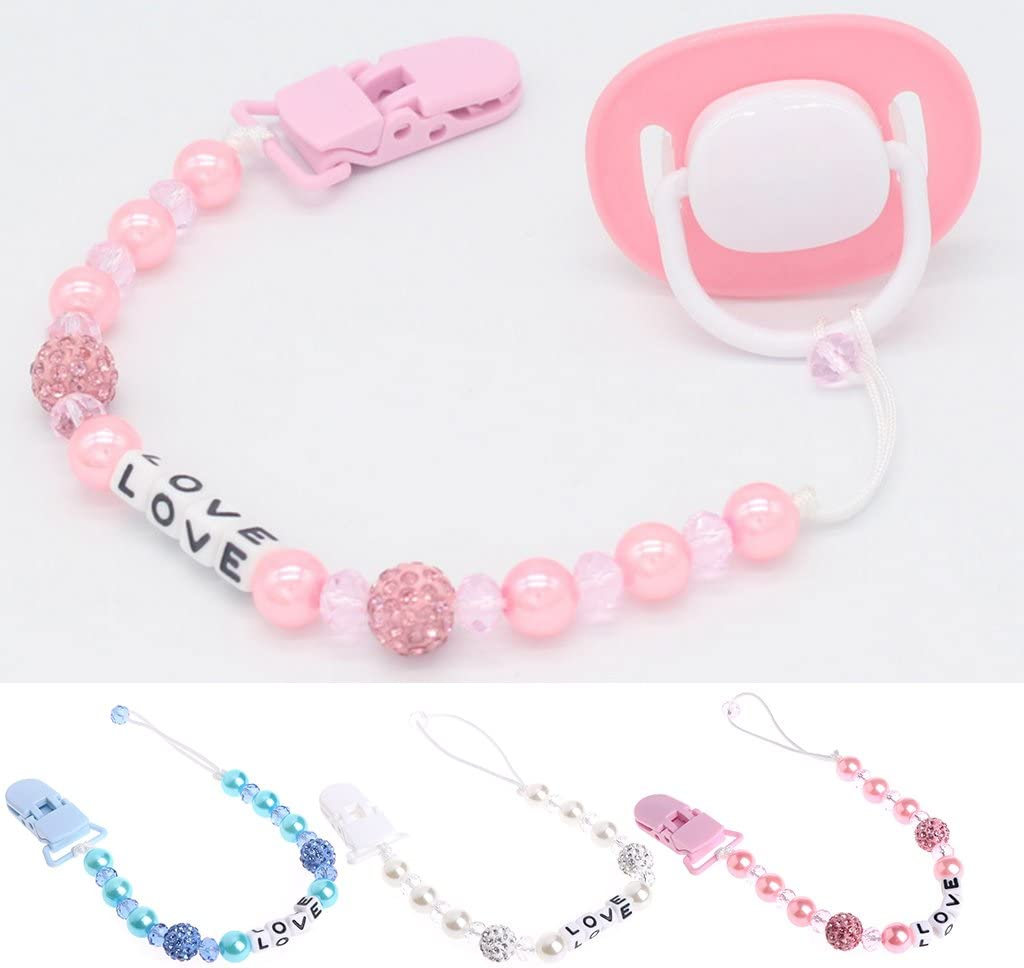 Fuwahahah Baby Bling Crystal Pacifier Clips Soother Chain Dummy Soother Nipple Leash Strap