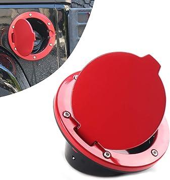 Aluminum Fuel Filler Door Gas Tank Cap Cover with Key-Red fits Jeep Wrangler JK