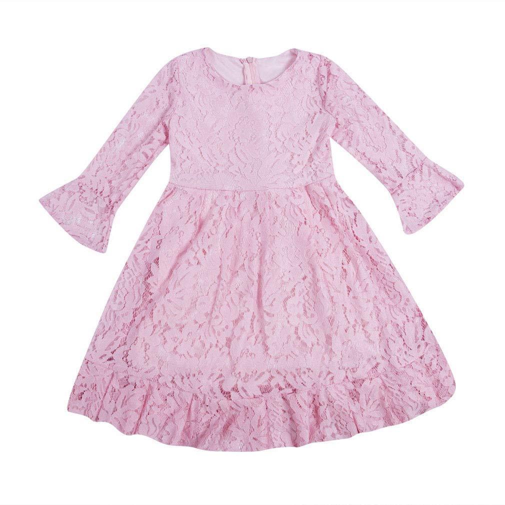 OKPEACE Toddler Kids Girl Flower Lace Dress 3/4 Sleeves Wedding Party Dress
