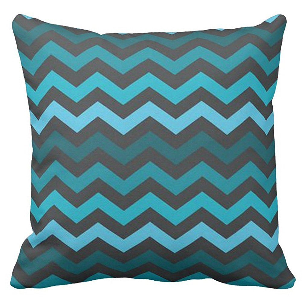 Decorative Square Teal Blue and Gray Chevron Pillow Case Covers Print Zippered Outdoor Indoors Two Sides 18 x 18 Inches Arrive