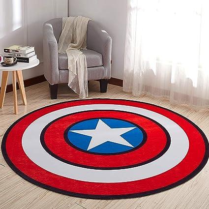 HOSSEN Home Non Slip Cartoon Printing Round Crawling Carpet for Computer Chair Kids Room