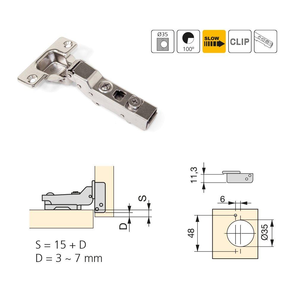 Emuca 1011407 Pack de 20 bisagras de cazoleta /Ø35mm 100/° cierre suave para puerta semi-solapada y suplementos para atornillar con regulaci/ón exc/éntrica