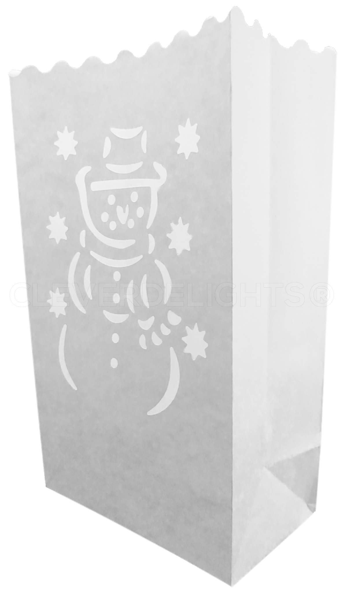CleverDelights White Luminary Bags - 30 Count - Snowman Design - Flame Resistant Paper - Christmas Holiday Outdoor Decorations - Party and Event Decor - Luminaria Candle Bag - Thirty Bags by CleverDelights