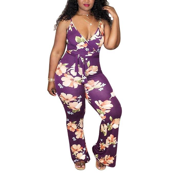 cd75812b8d Goocheer Women s Floral Print Sleeveless V-Neck Plus Size Jumpsuit Long  Pant Rompers Playsuit