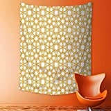 Analisahome Wall Hanging Tapestries Traditional Geometry Pattern with Moroccan Islamic Ethnic Effects Artwork Earth Yellow Bedroom Living Room Dorm Decor
