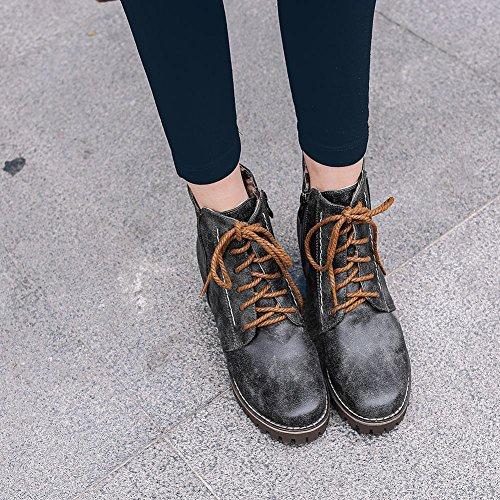 Latasa Kvinna Spets-up Chunky Klackar Boots Svart